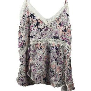 O'Neill White Floral Lace Trimmed Strappy Top M